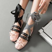 ballerina shoes for sale - 2016 Summer Brand New Ballet Flats Sweet Bowtie Korean Style Double Buckle Fashion Ballerinas Espadrilles Shoes for Women Sale