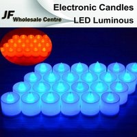 Wholesale 24pcs Electronic LED Luminous Candle Flickering Colorful Light Xmas Wedding Party Flameless Flickering Tea Light indoor outdoor use