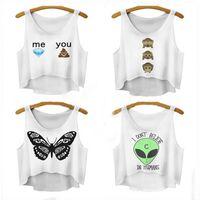 Wholesale EAST KNITTING Summer Women Vest Crop Tops T Shirts Sexy Girls Emoji Print Tops Fashion d Print Sleeveless Tank Tops