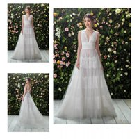 aline lace wedding dresses - Organza llusion Bodice Wedding Dresses Deep V Sheer Neck Lace Appliques Sleeveless Bridal Gowns ALine Sexy Backless Sweep Train Wedding Gown
