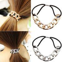 Wholesale 2016 Women Girl Korean Fashion Metal Head Chain Headband Head Piece Elastic Hairband Rope Ponytail Holder