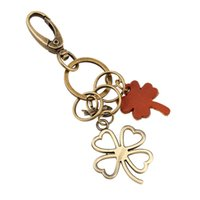 arrival clovers - New arrival fashion gold key pendant retro punk leather Clovers key chain