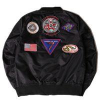baseball bat sizing - 2017 new brand MA1 pilot jacket badge devilkin embroidery collar windbreaker trend male air jackets Baseball Jackets plus size