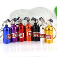 Wholesale Fashion Anodised NOS Turbo Keychain Mini Nitrous Oxide Bottle Keyring Key Chain Keyring Key Chain Ring Keyfob