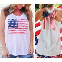 achat en gros de shirt drapeau américain femmes de-Vente en gros-NOUVEAU Été Sexy femmes sans manches Tops American USA drapeau Print Stripes bow-nœud Débardeur pour femme Chemisier Veste Chemise O cou Y3
