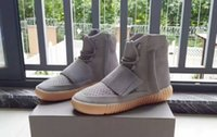 authentic sheepskin boots - Newest Boost Light Grey Gum with Glow In The Dark bottoms Kanye West Shoes new authentic Sneakers Boost Men Sports Casual boots