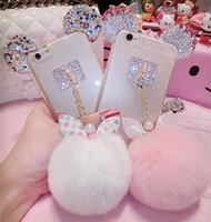 Wholesale Cell Phone Charms For Iphone - Wholesale-Hot selling New Rabbit Pom Pom Fur Ball Bow Cell Phone Keychain Pendant Charm Key Chain Mirror Case For iPhone