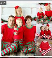 Wholesale Retail Christmas Pajamas Baby Girls Pajamas Long Sleeve Top Pants Set Cotton Christmas Outfits Red White Stripe Clothing