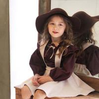 western clothing - New Kids Girls Princess Embroider Ruffles Suspender Dress Lantern Sleeve Tees Western Princess Party Clothing