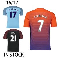 Wholesale 2016 KUN AGUERO Third Orange Soccer Jerseys Manchester Kompany Kevin De Bruyne Camisetas de futbol City Maillot de Foot Football Shirt