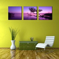 bedroom painted purple - 3 Panel Purple Wall Art Painting Sunset Lake On Canvas The Picture Oil For Home Modern Decoration Print Decor For Bedroom
