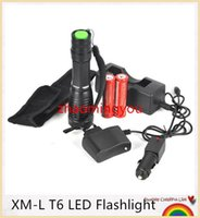Wholesale HONG Hot sale XM L T6 LM LED Torch Zoomable Adjustable LED Flashlight Torch light AAA Lamp Lanterna Batteries Charger