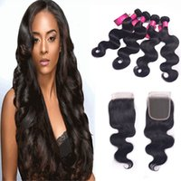 Cheap 6A Grade 3pcs Hair Bundles With 1pc Lace Closure Remy Human Hair Weave And Closure Brazilian Body Wave Virgin Hair Extensions