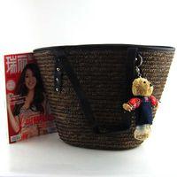 Totes beaded teddy bear - Newest korean women s handmade straw woven teddy bear handbag Shoulder tote bag Summer beach beaded straw bag