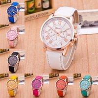 Las mujeres del reloj NUEVAS mejores mujeres del reloj del platino de Ginebra de la calidad Reloj de cuero de la PU de la PU reloj ocasional del reloj Señoras reloj del oro de las señoras Relojes de manera