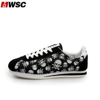 Cheap MWSC 2016 Spring Summer Brand Nice Women Casual Shoes Ladies Skull Print Shoes Brand Design Woman Cortez Flat Shoes