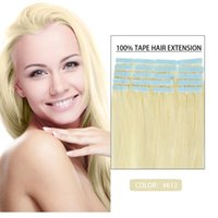 Cheap 16inches--24inches Indian Real Hair #613 PU Tape Hair Glue Skin Weft Tap Hair Extensions Free Shiping Natural Tape Hair Extensions