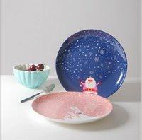 Wholesale ceramic promotional cute Christmas plate