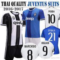 Wholesale 2016 kit Thai Quality Juventus jerseys home white away blue soccer uniform suits HIGUAIN MARCHISIO DYBALA POGBA custom football