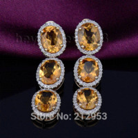 Cheap Natural Citrine Earring for women 7x9mm Solid 14Kt Yellow Gold Diamond Jewelry Earring ER002