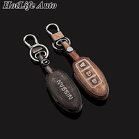 Wholesale 100 Genuine Leather Car Keychain Nissan Murano Qashqai Juke Tiida Graffiti Smart Car Key Case Cover Chain Ring Bag Auto Accessories