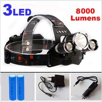 Wholesale 8000Lm CREE XML T6 R5 LED Headlight Headlamp LED Head Lamp Headlight LED mode torch x18650 battery charger fishing Lights