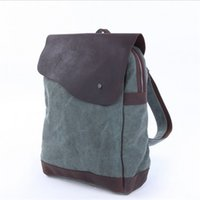Wholesale Canvas Leather Mens Bags Vintage School Laptop Packsack Day Packs for Mens Outdoor Sports Light Green Blue Grey