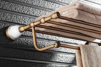 antique towel rails - Rushed Newly Wall Mounted Bathroom chrome racks bars set Double Bar Ceramics Base Towel dispenser Holder Rack rail Antique Brass