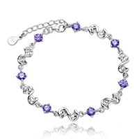 Wholesale Newest arrival Women Sterling Silver Crystal Jewelry Valentine s Day Small Gift High Polished Charm Bracelet