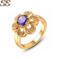Wholesale Crown Gold Jewellery - 18K Gold 6 Petal Flower Blue Ring Crown Pearl Jewelry Ruby Fine Jewelry Ring Vintage Jewellery Bague Femme