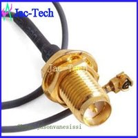 Wholesale 100pcs RP SMA female bulkhead to IPEX U F L with pigtail cable assembly