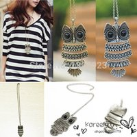 Wholesale 1 Piece Vintage Bronze Sliver Owl Pendant Necklace