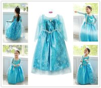 frozen costume - 2016 hot sales Elsa Fancy Dress Frozen Costume Girls Princess cosplay dress with White Lace Wape Girls Pageant Dresses