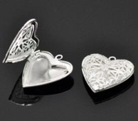 Wholesale Hot Sale New Silver Plated Heart Shape Photo Frame Locket Pendants x26mm Charm Blank Base DIY Jewelry Accessories