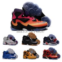 james brown basketball - Cheap new Mens Lebrons basketball shoes in Black Blue Greey White Red james soldier XIII sneakers in top quality
