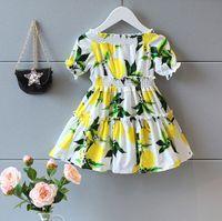 Cheap Girl Bontique Clothes Baby Kids Clothing Girls Off Shoulder Lemon Dress Fashion Princess Fruit Pattern Party Dress Fresh Girls's Skirts 9246