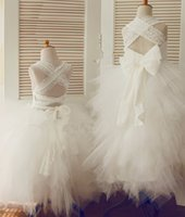 Cheap Corset Back Lace Layered Tulle Big Back bow Wedding Children Easter Bridesmaid Communion Baptism Dress Girl vestidos