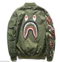 best winter jackets for women - Shark Coat for men women best hip hop Autumn Winter jackets embroidery shark windbreaker baseball camo camouflage military sport low price