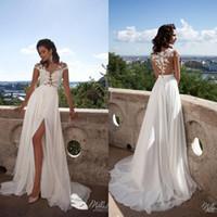 Wholesale Beach Wedding Dresses Vintage Milla Nova Boho Wedding Dress Chiffon Lace Appliques Bridal Gowns Country Bride Dress