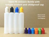 Cheap 60ml PE Unicorn Bottle 2OZ Pen Shape Bottle E Liquid Plastic Dropper Bottle With Tamper Evident Childproof Cap For Vape Juice DHL Free