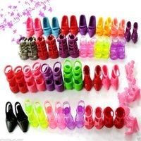 Wholesale 2016 New Fashion pairs New Popular Colorful Barbie Dolls Shoes Accessories for Girl s Gift