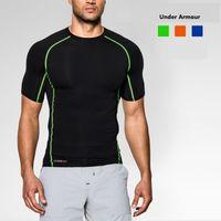 Wholesale 2016 Under Brand Sport Fitness Compression Shirt Men Bodybuilding Short Sleeve T Shirt Gym Crossfit Running Tops Shirts
