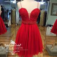 Wholesale Red Short Homecoming Dresses Spaghetti Straps Beaded Lace Corset Back Prom Gowns Girls Graduation Dress Cheap Fast Shipping
