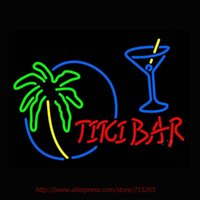 Wholesale Tiki Bar With Wine Glass Neon Sign Neon Bulbs Led Signs Real Glass Tube Handcrafted Recreation Room Windows Iconic Sign x24