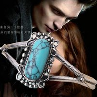 bella silver jewelry - 11pcs jewelry vintage silver plated alloy Bella Cullen Natural texture Blue turquoise adjustable Bangle women Hot s011