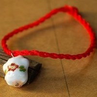 bead thread sizes - Unisex White Porcelain Ceramic Beads Praying for Security Peace Simple Red Thread Lucky Bracelets FREE SIZE
