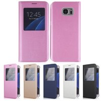 Wholesale Filp Cover Open Window Smart View PU Leather Case Dormancy Wake Sleep Function For Samsung Galaxy S S7 edge with retail package