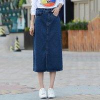 Las nuevas mujeres de la manera señoras del dril de algodón de la falda venden A - alinean las faldas flojas de Jean del Mediados de-Becerro femeninas Saias ocasionales más el tamaño XS-8XL XA0311