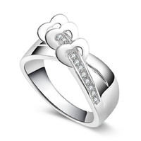 Wholesale High quality Love Heart Rings Hot Sale Luxury Sterling Silver Jewelry Engagement Party Gifts Rings For Women