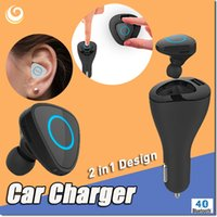 auto answer phone - 2in1 In ear Bluetooth Stereo Headset Car Charger A USB interface Answer call For Phone Mini Adapter Earphone Auto Charging